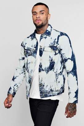 boohoo Cow Bleach Denim Jacket