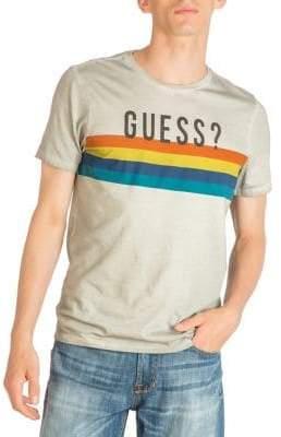 GUESS Striped Logo Cotton Tee