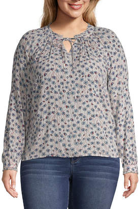 A.N.A Long Sleeve Floral Peasant Top - Plus