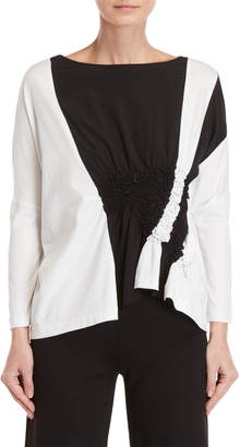 Pierantonio Gaspari Two-Tone Ruched Detail Blouse