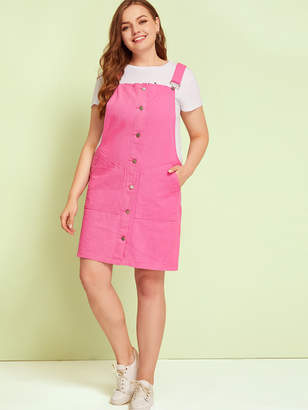 Shein Plus Button Front Pocket Side Dungaree Dress