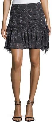 Tanya Taylor Abby Juneberry Printed Silk Mini Skirt