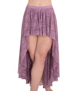 Body Wrappers Womens High-Low Lace Dance Skirt (LC9112)