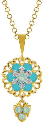 Lucia Costin Silver, Mint Blue, Turquoise Crystal Pendant with Charms