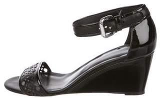 Aquatalia Patent Leather Ankle Strap Wedges