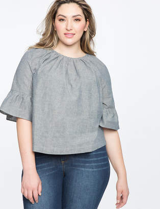 ELOQUII Shirred Neckline Flare Sleeve Top