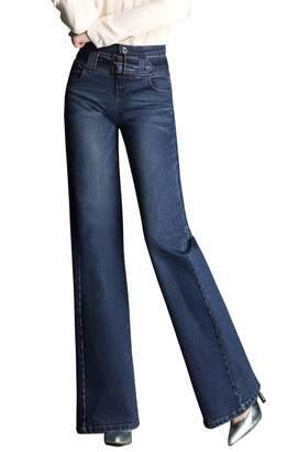 Diyo Women's Classic High Waist Wide Leg Jeans Palazzo Jeans Pants Flare Jeans