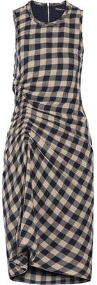 James Perse Ruched Checked Wool And Linen-blend Dress - Navy
