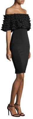 Badgley Mischka Off-The-Shoulder Petal Popover Dress