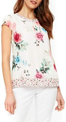 Wallis Floral Pretty Bird Cap Sleeve Blouse