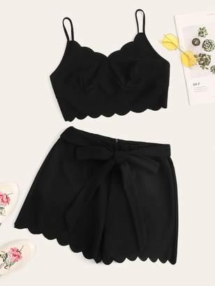 Shein Scallop Bustier Bra Cami Crop Top & Belted Shorts Set