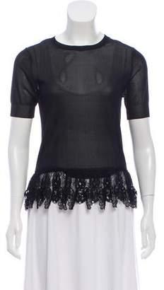 Nina Ricci Lace-Trimmed Short Sleeve Top