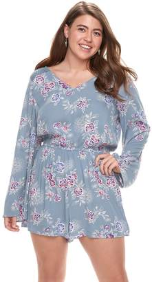 Mudd Juniors' Plus Size Lace Inset Bell Sleeve Romper