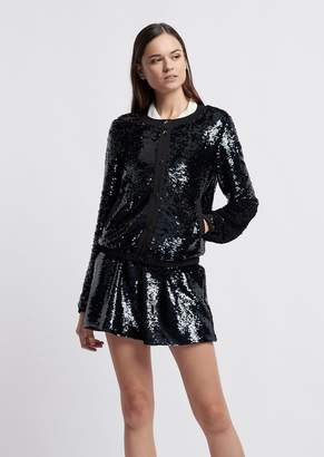 Emporio Armani Shimmering Fabric Bomber Jacket With Tone-On-Tone Sequins