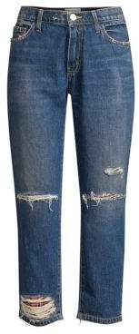 Current/Elliott The Repaired Fling Distressed Crop Jeans