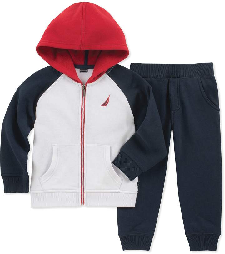 Nautica 2-Piece Hoodie and Pant Set in Navy/Red/White