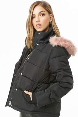 Forever 21 Faux Fur Hooded Puffer Jacket