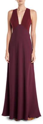 Jill Stuart Deep V-Neck Two-Tone Sleeveless Dress