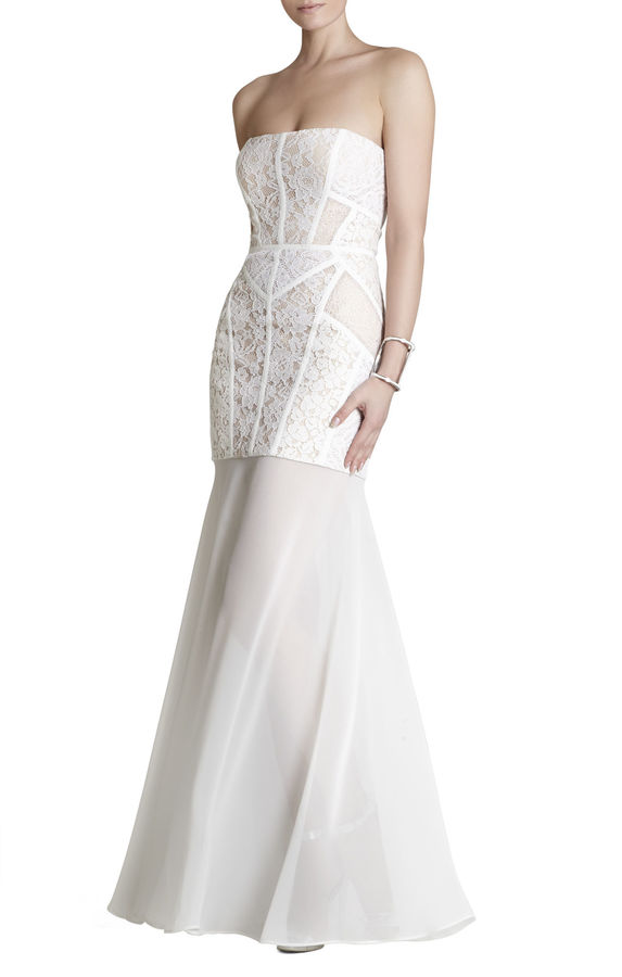BCBGMAXAZRIA Vivienne Lace-Blocked Strapless Dress