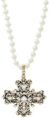"""Joan Rivers Classics Collection Joan Rivers Lt. Ed. Cross Pin/Pendant 34"""" Simulated Pearl Necklace"""