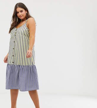 1e88bfbaa8 Asos DESIGN Curve button through midi smock sundress in mixed stripe