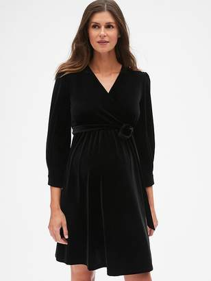 Gap Maternity Velvet Tie-Waist Crossover Dress