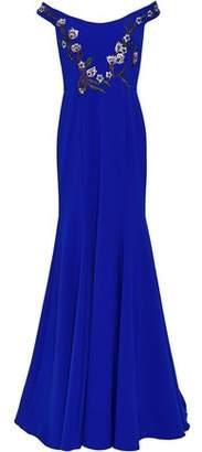 Marchesa Off-the-shoulder Embellished Cady Gown