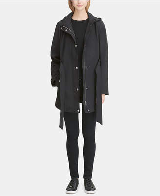 DKNY Hooded Belted Raincoat
