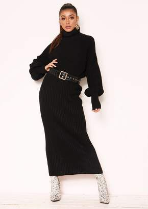 fed6e107b6ea2 Missy Empire Missyempire Vicki Black Knit Jumper Midi Co-ord Set