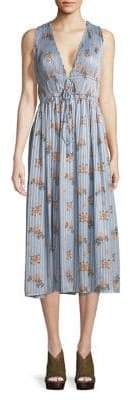 ASTR the Label Floral and Striped Tea-Length Dress