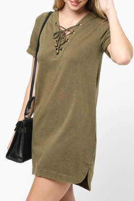 Very J Lace Up Neck Dress