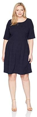 Julian Taylor Women's Plus Size Textured Knit Pleated Dress