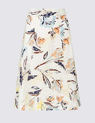 Marks and Spencer Pure Cotton Floral Broderie A-Line Midi Skirt