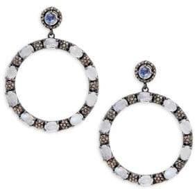 Sterling Silver, Gemione Rainbow Moonstone & Diamond Hoop Earrings