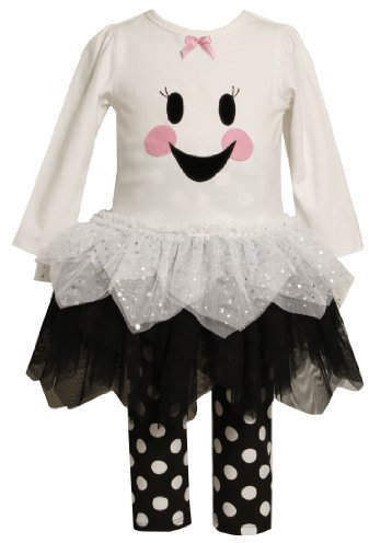 Bonnie Baby girls Newborn Ghost Face To Tulle Skirt and Knit Top with Legging