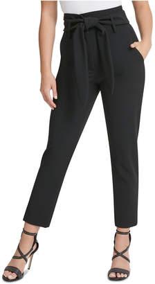 DKNY High-Waisted Tie-Belt Ankle Pants