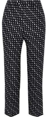 Theory Cropped Printed Silk-satin Twill Tapered Pants