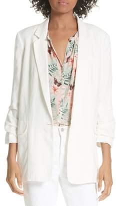 Joie Kishina Ruched Sleeve Linen Blazer
