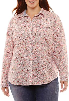 ST. JOHN'S BAY Roll-Tab Long Sleeve Two Pocket Campshirt - Plus
