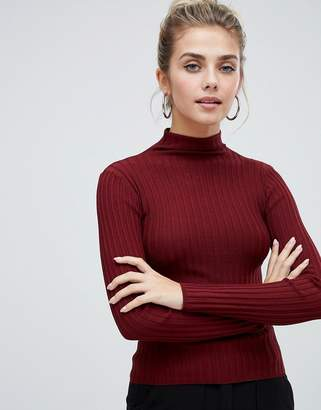 Bershka vertical ribbed funnel neck jumper