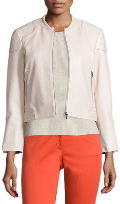 rag & bone/JEAN Astor Leather Zip-Front Jacket, Blush $388 thestylecure.com