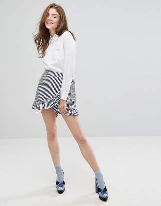 Paige (ペイジ) - Willow and Paige Wrap Front Mini Skirt With Ruffle Trim In Gingham