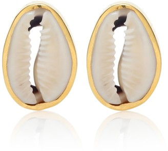Puka Tohum Design Small Shell 22kt gold-plated earrings