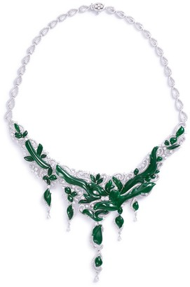 LC Collection Jade Diamond jade 18k gold vine necklace
