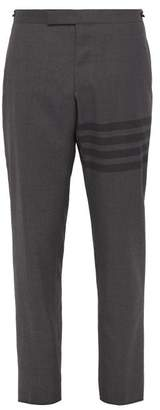 Thom Browne Striped Wool Blend Trousers - Mens - Grey