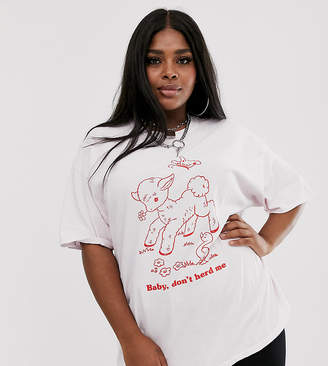 601256ede659f New Girl Order Curve oversized t-shirt with baby lamb graphic