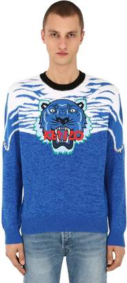 Kenzo Tiger Patch Intarsia Knit Sweater
