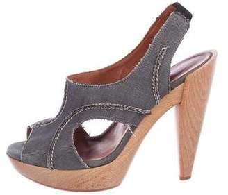 Lanvin Denim Slingback Sandals