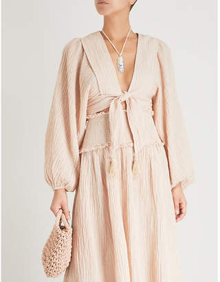 Zimmermann Bayou tie-front ramie and cotton-blend top