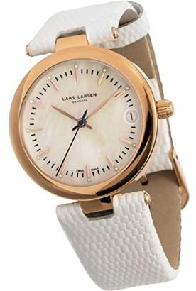 Mother of Pearl Lars Larsen Viviann Women's Quartz Watch with Dial Analogue Display and White Leather Strap 126RMWL